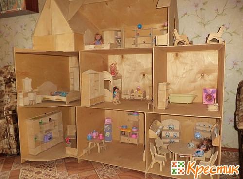 Кукольный домик своими руками из фанеры схема фото 863