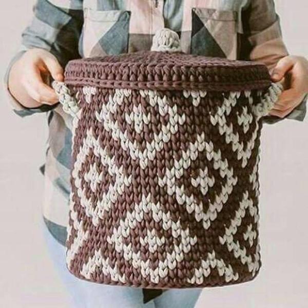 интерьерные корзины из трикотажной пряжи вязание для всех