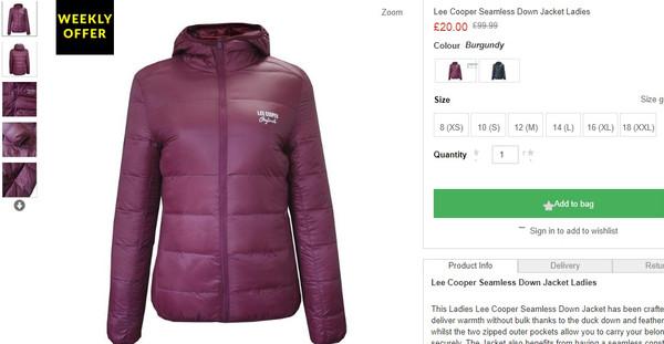 lee cooper seamless down jacket ladies