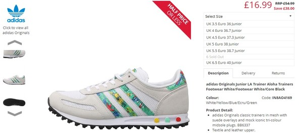 b345aa173 https://www.mandmdirect.com/01/details/AO4169/adidas-Originals-Junior-LA- Trainer-Aloha-Trainers-Footwear-White-Footwear-White-Core-Black ...